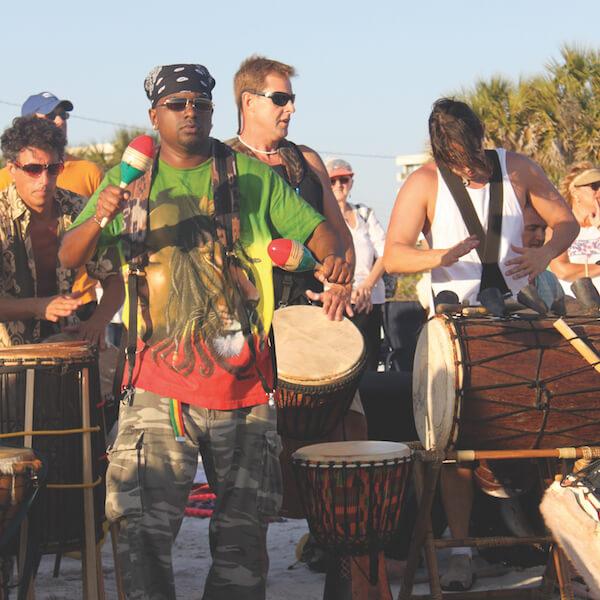 Siesta Key drum circle, Siesta Beach Sarasota, Florida. Must Do Visitor Guides, MustDo.com