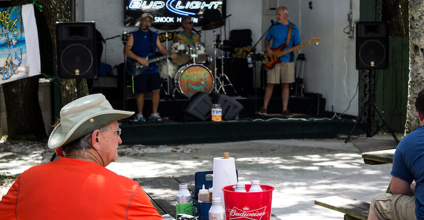 Live Music at Snook Haven. Experience Old Florida with a relaxing day of fishing or exploring the serene Myakka River with a canoe or kayak rental. Sarasota, Florida. Photo by Elizabeth Barnett. Must Do Visitor Guides, MustDo.com