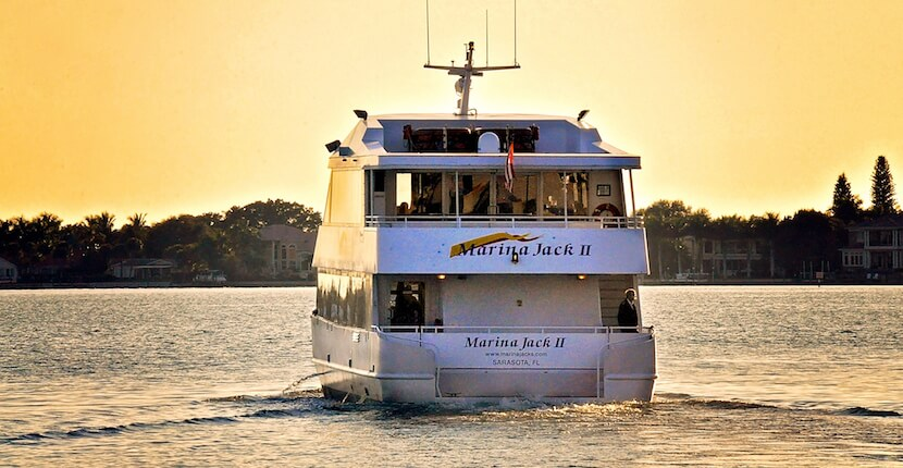 Lunch and dinner, sightseeing sunset cruises aboard the luxurious 96 foot Marina Jack II cruising yacht. Sarasota, Florida. Must Do Visitor Guides, MustDo.com.