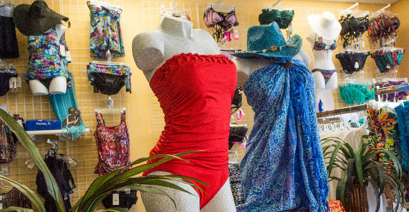 Swim Mart and Swim City best store for men's women's and children's swimsuits, beach coverups, hats, and flip flops Sarasota, Floirda USA. Must Do Visitor Guides, MustDo.com