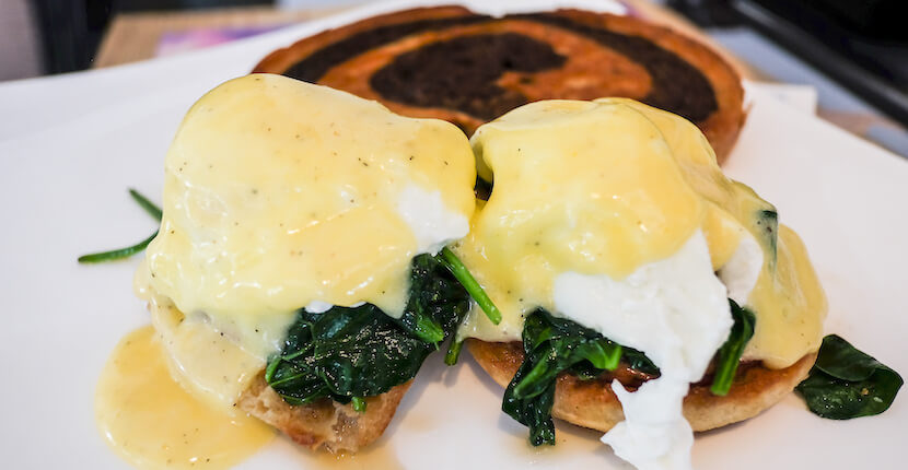 MustDo.com | Eggs Benedict from Three60 Market is a Unique Naples, Florida Waterfront Restaurant, Gourmet Market and Deli. Photo by Mary Carol Fitzgerald.