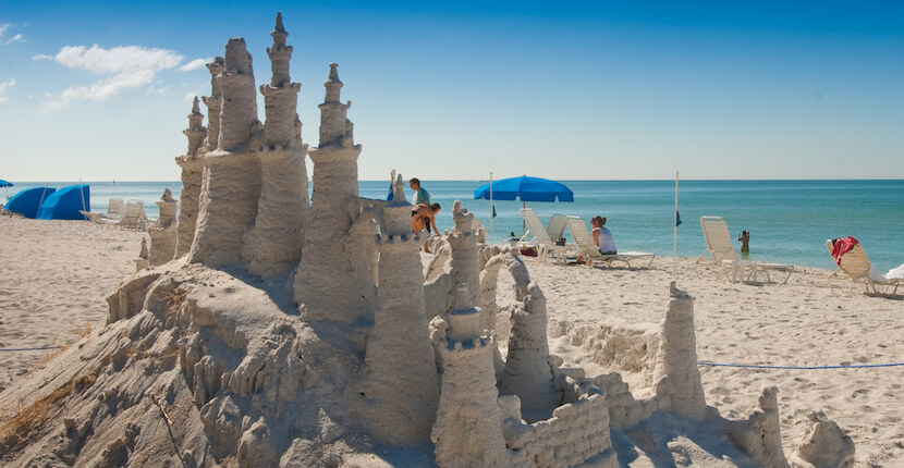 MustDo.com | Giant sandcastle! Vanderbilt Beach Park is a popular North Naples, Florida beach that has gorgeous powdery white sand and is close to area hotels, restaurants, and shopping. Photo by Debi Pittman Wilkey.