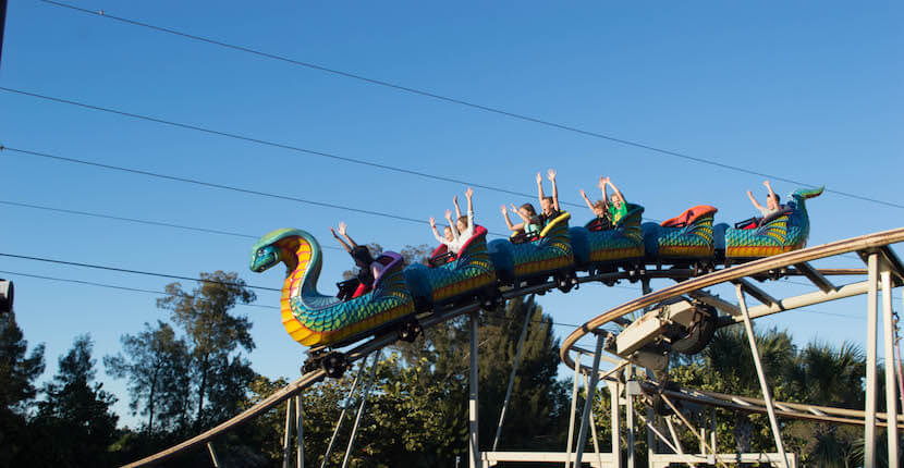 MustDo.com | Zoomer's Amusement Park in Fort Myers, Florida features a wide range of fun activities and rides for kids and adults including a rollercoaster.