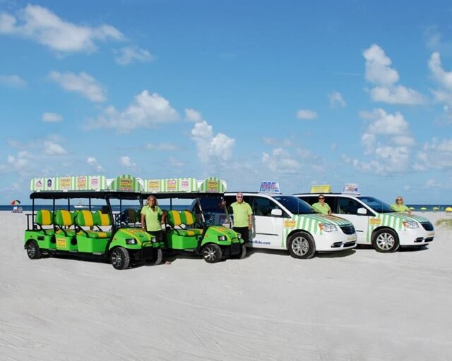 Free tips only rides to the beach, shops, restaurants, and more on Siesta Key, Florida. Must Do Visitor Guides, MustDo.com