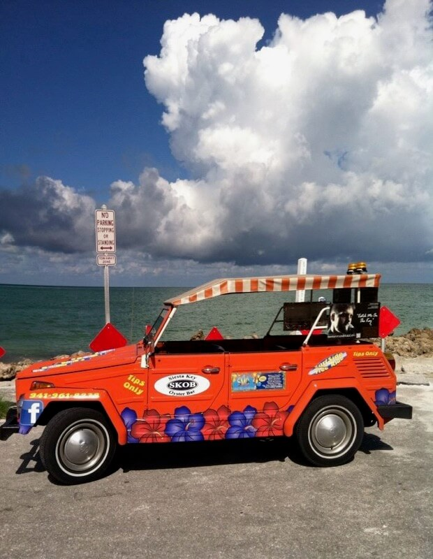 Free tips only rides to the beach, shops, restaurants, and more on Siesta Key, Florida. Must Do Visitor Guides, MustDo.com.