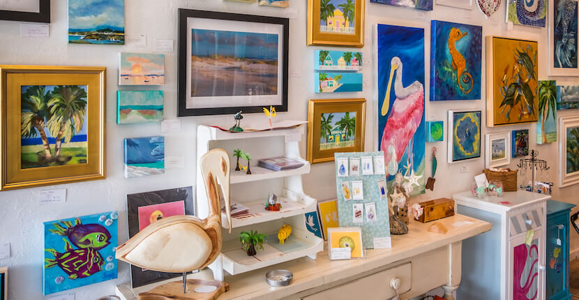 The Gallery on Siesta Key art gallery and gift boutique offering tropical and beach inspired original paintings, photographs, sculpture, jewelry, seashell creations, ceramics, glassware, wearable art, and other unique gift items from a variety of talented local Sarasota, Florida artists. Photo by Mary Carol Fitzgerald. Must Do Visitor Guides, MustDo.com