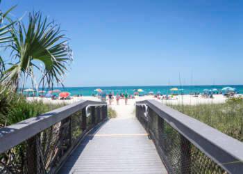 The walkway to Nokomis Beach on Casey Key near Venice and Sarasota, Florida. Photo by Jennifer Brinkman. Must Do Visitor Guides, MustDo.com.