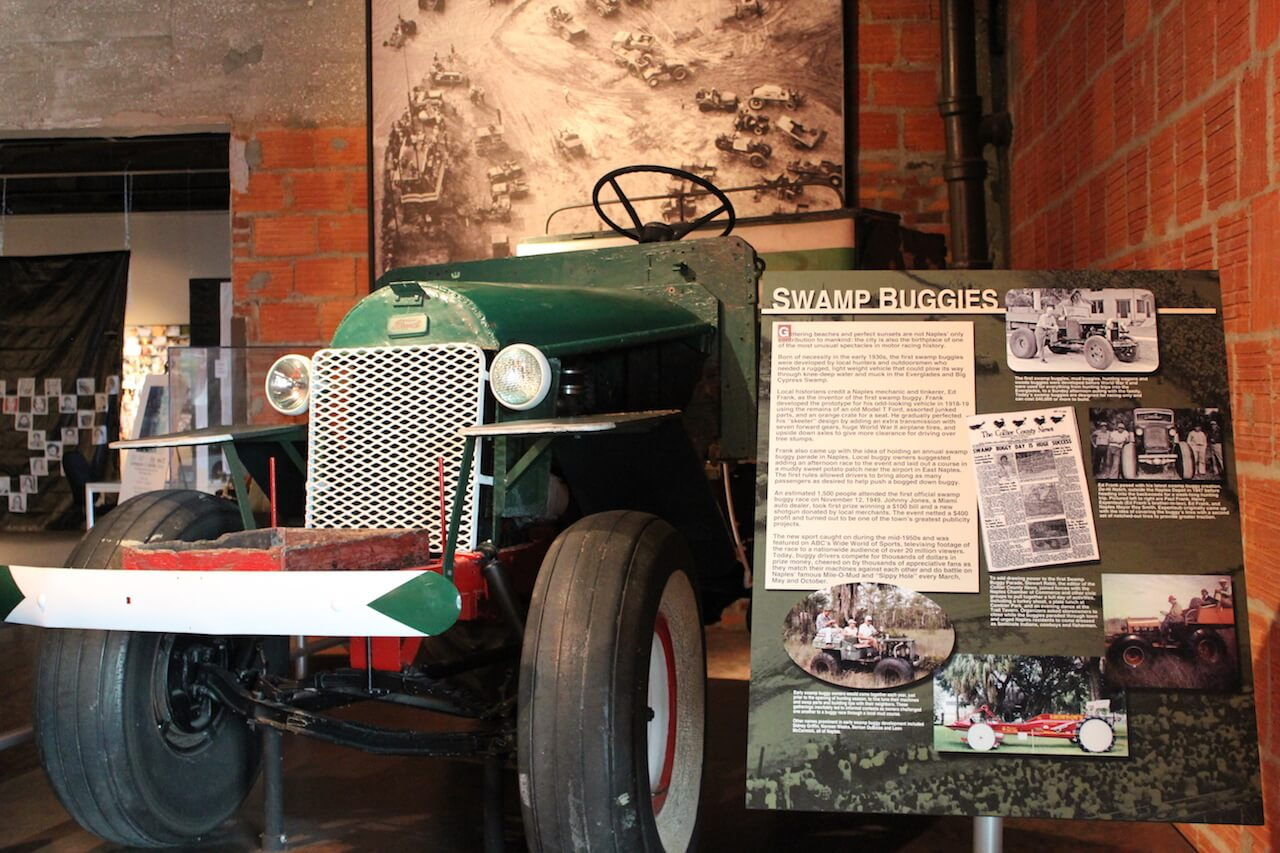 An original 1920's Swamp Buggy on exhibit at the Collier County Museum in Naples, Florida. Photo by Nita Ettinger. Must Do Visitor Guides, MustDo.com