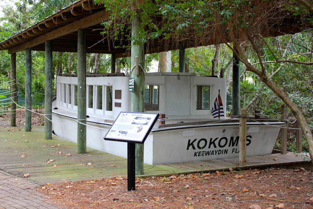 The original Kokomis Ferry that connected Keewaydin Island to Naples Collier County Museum Naples, Florida. Must Do Visitor Guides, MustDo.com