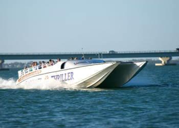 Sanibel Thriller power super catamaran boat dolphin, wildlife tour Sanibel Island, Florida. Must Do Visitor Guides, MustDo.com