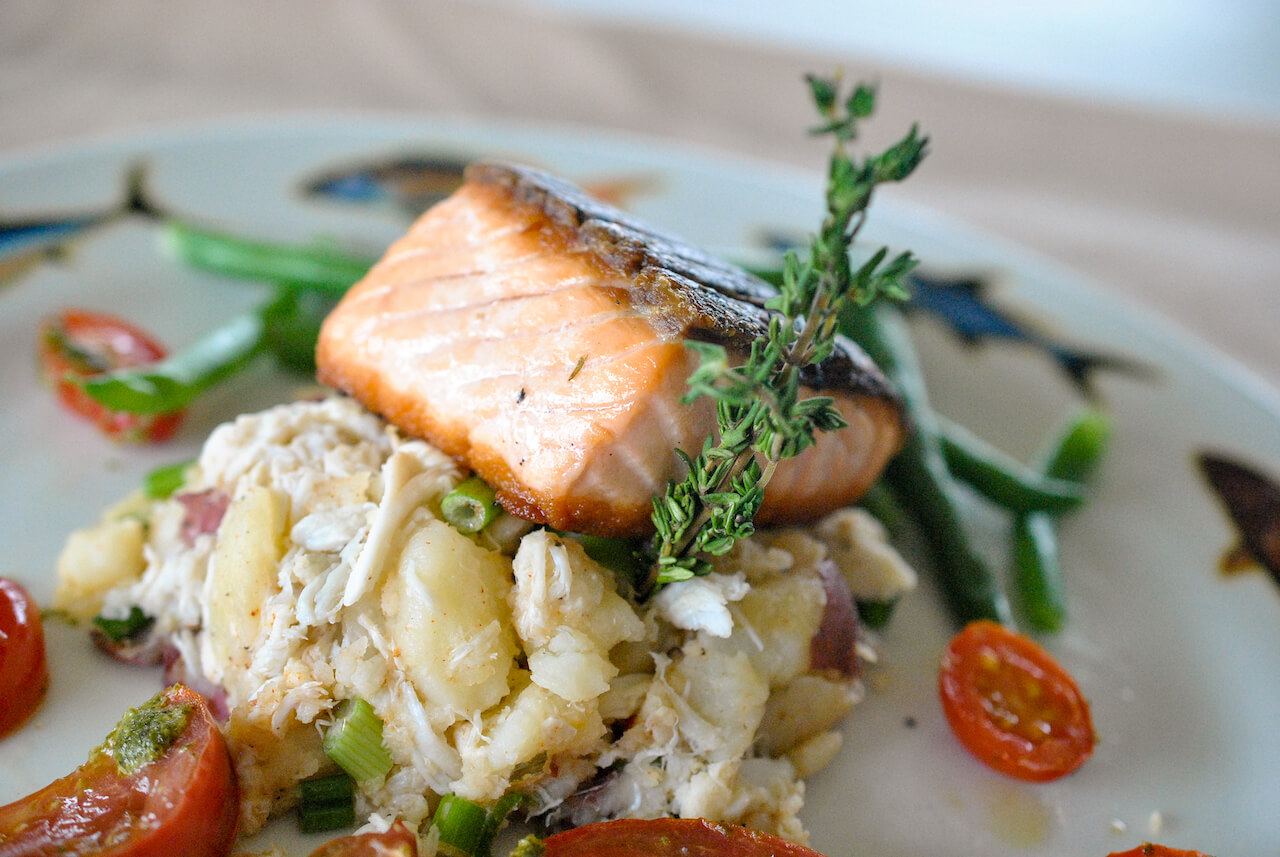 Sarasota Seafood-Salmon The Beach House restaurant Bradenton, Florida. Photo by Larry Hoffman of dineSarasota. Must Do Visitor Guides, MustDo.com.
