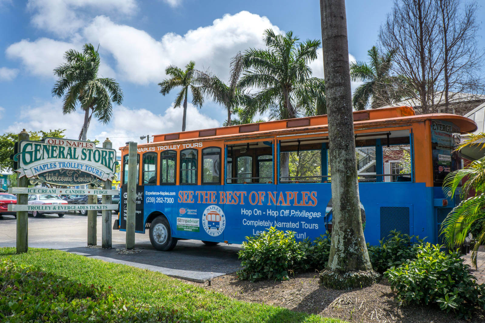 A Naples Trolley Tour allows you to explore Naples despite the rain! The narrated tour stops at 17 places across town and allows you to hop-on-hop-off at any point. You can also sit back and enjoy the ride which takes approximately 2 hours to complete. Photo by Jennifer Brinkman | MustDo.com