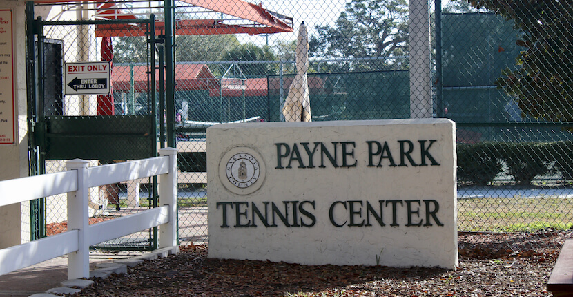 Payne Park Tennis Center is a downtown Sarasota, Florida tennis facility featuring 12 affordable, well maintained, and lighted Har-Tru Hydrogrid public tennis courts with canopy covered bench seating, water fountains, courtside tables, and locker rooms with showers. Must Do Visitor Guides, MustDo.com.