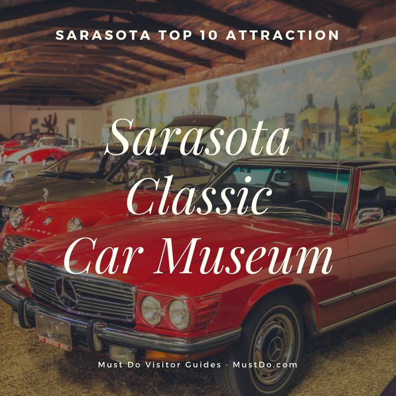 Sarasota Classic Car Museum is the second oldest continuously operating museum of antique cars in the USA. The museum has an ever-changing selection of exhibits including antique, exotic, American, European, and one-of-a-kind cars you are unlikely to see on the roads today. Photo by Jennifer Brinkman.
