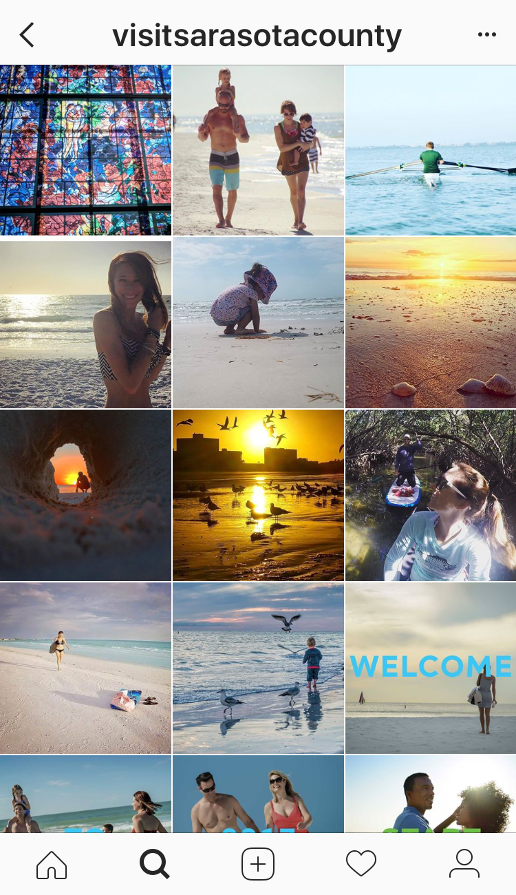 This Instagram account, curated by Sarasota County tourism, displays photos from locals and visitors to Sarasota. | Must Do Visitor Guides