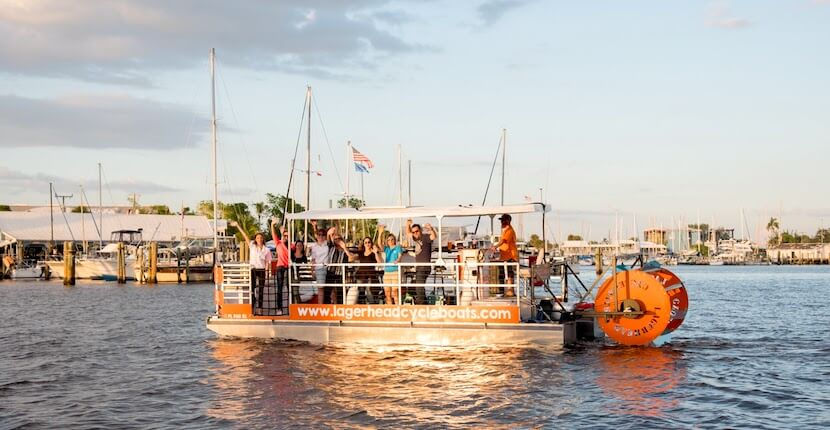 Pedal at your own pace while your captain navigates the boat on an adventurous and unique 90-minute pedal power Lagerhead Cycleboats cruise that includes a stop at a Fort Myers Beach bar/restaurant. #fortmyersbeach #florida #vacation #thingstodo #tours #partyboat pedalpub