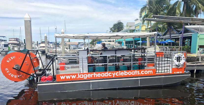 Pedal at your own pace while your captain navigates the boat on an adventurous and unique 90-minute pedal power Lagerhead Cycleboats cruise that includes a stop at a Fort Myers Beach bar/restaurant. #fortmyersbeach #florida #vacation #thingstodo #tours #partyboat