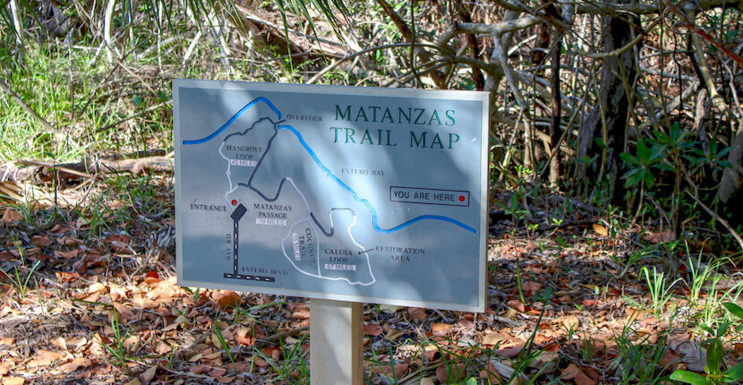 Matanzas Pass Preserve trail map on Fort Myers Beach (Estero Island) Florida. Must Do Visitor Guides, MustDo.com.