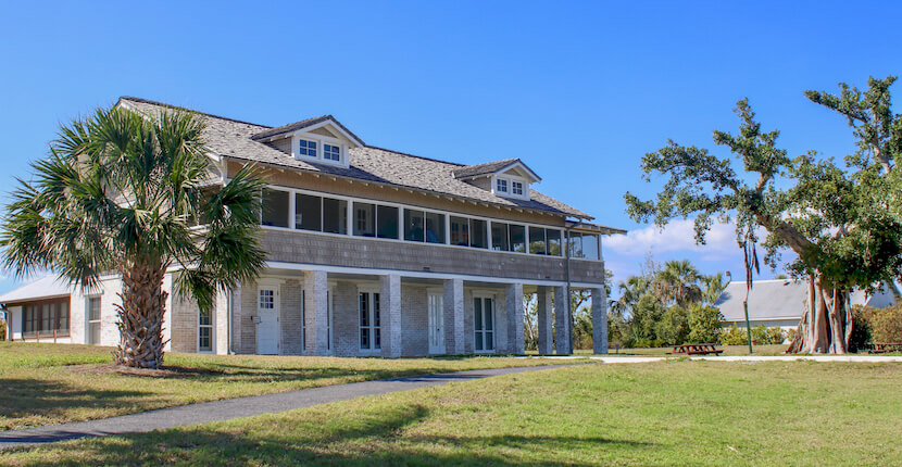 Built in 1921, The Mound House is the oldest standing structure on Estero Island (Fort Myers Beach) and sits atop an ancient Calusa Indian Shell Mound directly on Estero Bay. Must Do Visitor Guides, MustDo.com.