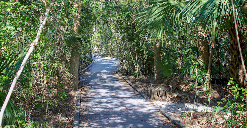 Matanzas Pass Preserve features 1.25 miles of trails and extended boardwalks through a 57-acre canopy of oak trees and mangroves, and a paddle-craft landing that's part of the Great Calusa Blueway Paddling Trail. Fort Myers Beach (Estero Island) Florida. Must Do Visitor Guides, MustDo.com.
