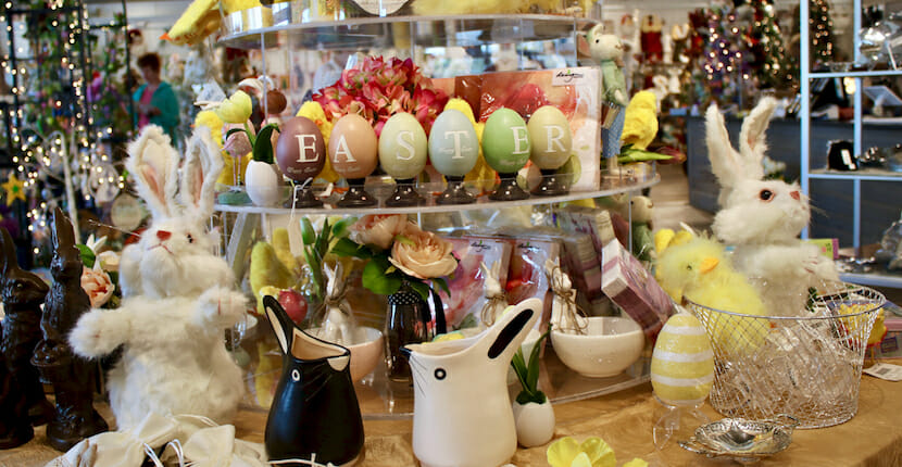 Easter decor display Shelly's Gifts & Christmas Boutique Sarasota, Florida. Must Do Visitor Guides, MustDo.com.