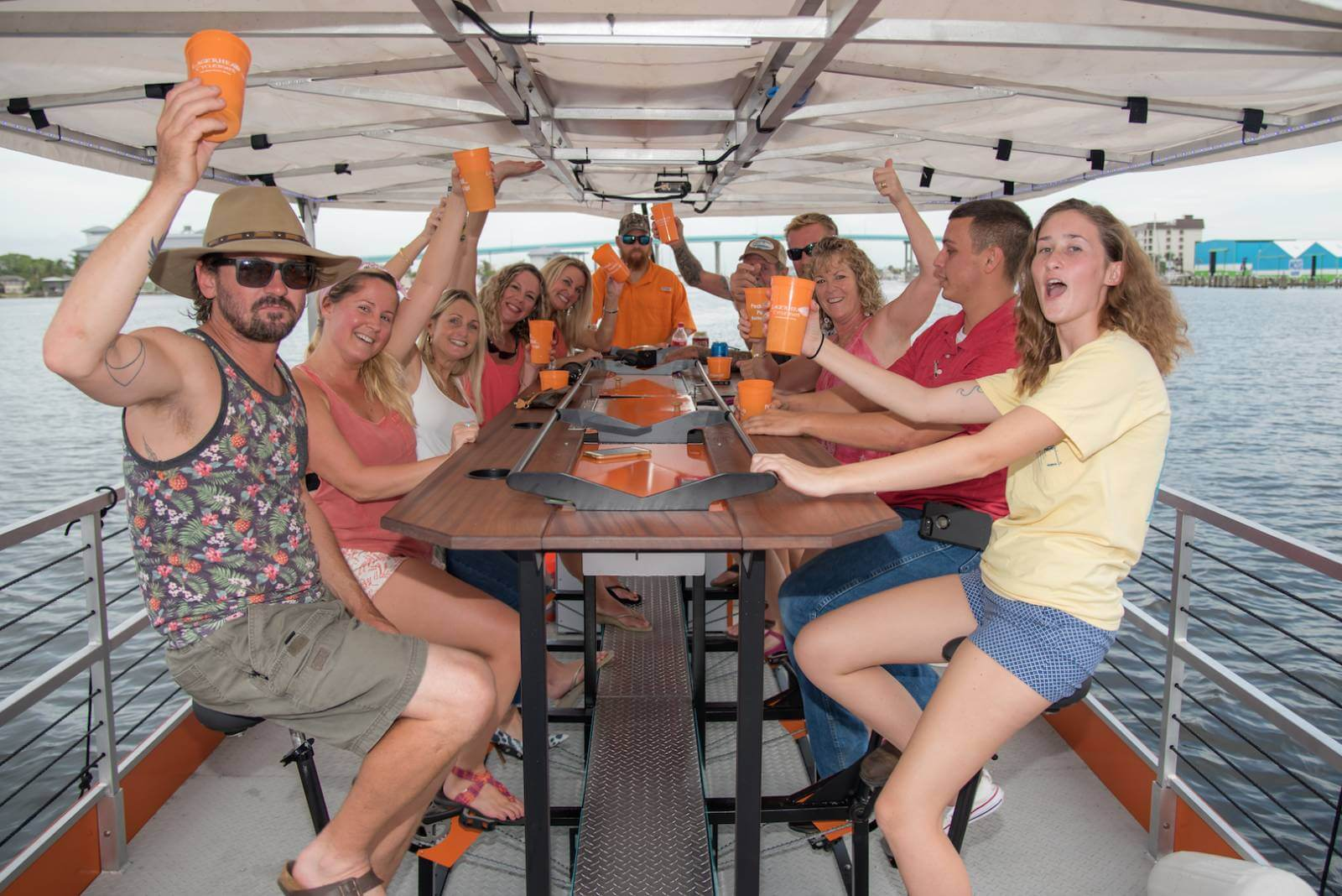 A fun pedal power cruise that includes a stop at a Fort Myers Beach bar/restaurant. Pedal at your own pace while your captain navigates the boat on this adventurous and unique tour. #FortMyersBeach