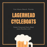 Lagerhead Cycleboat cruise in Fort Myers Beach, Florida with text overlay All About Lagerhead Cycleboats. www.MustDo.com