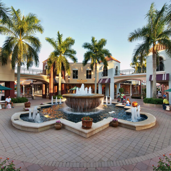 Miromar Outlets features top designer and brand name stores offering up to 70% off retail prices, covered walkways, and ample parking and is just a short drive from Naples, Florida.