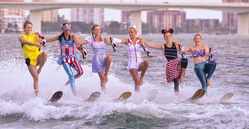Watch the Ski-A-Rees perform a spectacular water ski show featuring jumps and tricks, pyramids, ballet and swivel lines, doubles, trios, and skiing barefoot.