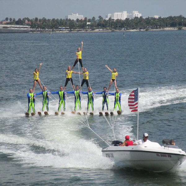 Watch the Ski-A-Rees perform a spectacular water ski show featuring jumps and tricks, pyramids, ballet and swivel lines, doubles, trios, and skiing barefoot. #Sarasota #vacation #waterski #kidsactivities