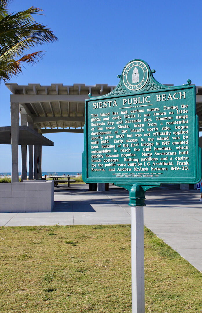 Surprising Facts About Siesta Key, Lido Key, and Longboat Key Florida. Historic beach marker at Siesta Key Public Beach on Siesta Key in Sarasota, Florida.