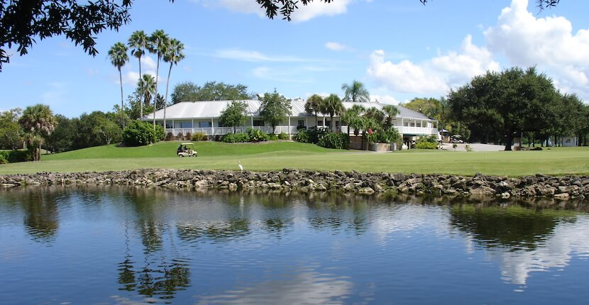 Lake overlooking the Club House at Coral Oaks Golf Course in Cape Coral, Florida. Must Do Visitor Guides, MustDo.com.