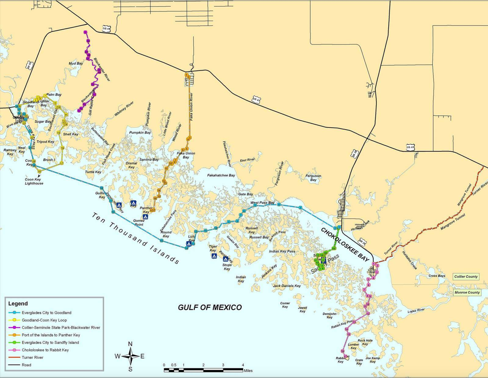 Florida's Paradise Coast Blueway Trail Map Overview. Must Do Visitor Guides, MustDo.com