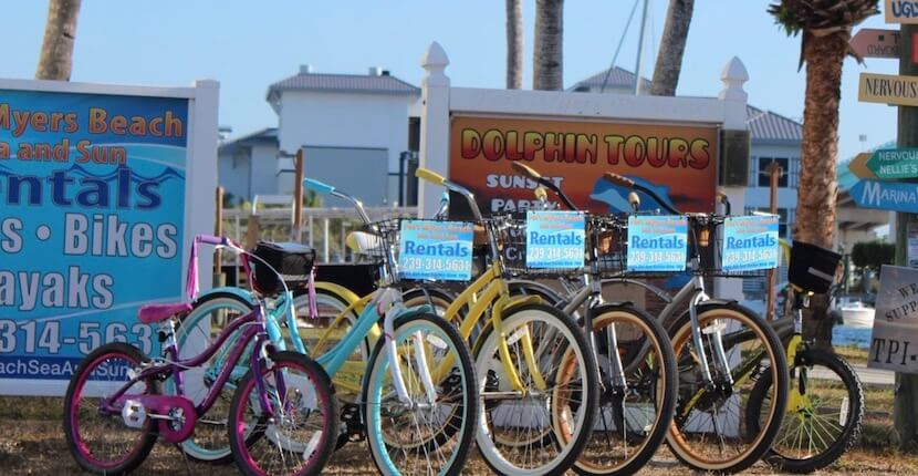 Rent a bike from Fort Myers Beach Sea & Sun rentals in Fort Myers Beach, Florida.