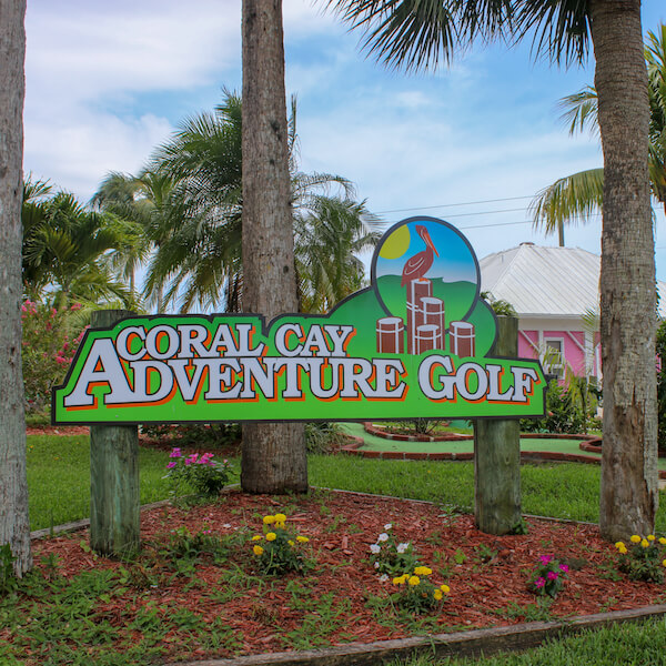 Coral Cay Adventure Golf putt putt miniature golf is a fun Naples, Florida activity for kids, teens, and adults. Must Do Visitor Guides, MustDo.com. Photo by Nita Ettinger