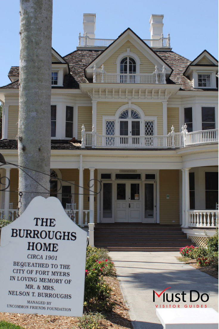 Burroughs Home and Gardens is a historic landmark in downtown Fort Myers, Florida. Take a guided tour of the beautiful period rooms and tropical gardens. Must Do Visitor Guides | MustDo.com