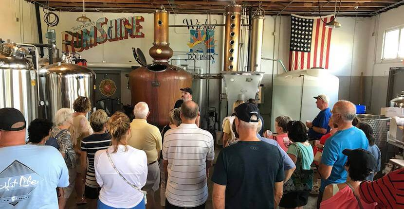Free distillery tours and tastings of award-winning Wicked Dolphin Rum where you'll learn how they cook, ferment, and distill their reserve and signature rums. Cape Coral, Florida. Must Do Visitor Guides, MustDo.com.