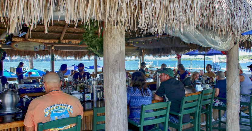 Evie's at Spanish Point casual waterfront restaurant and tiki bar Sarasota, Floirda. Must Do Visitor Guides, MustDo.com.