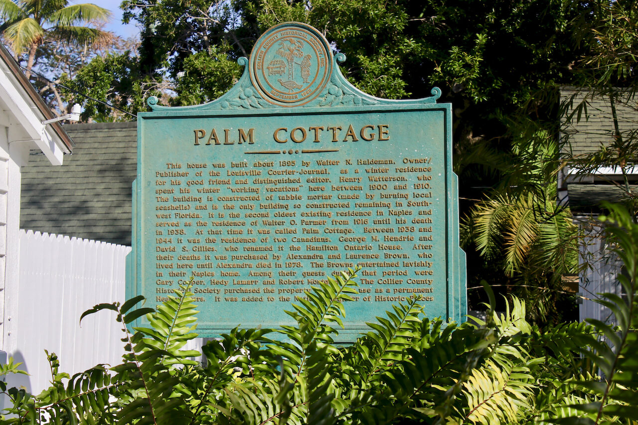 Palm Cottage historical marker Naples, Florida. Must Do Visitor Guides | MustDo.com. Photo by Nita Ettinger