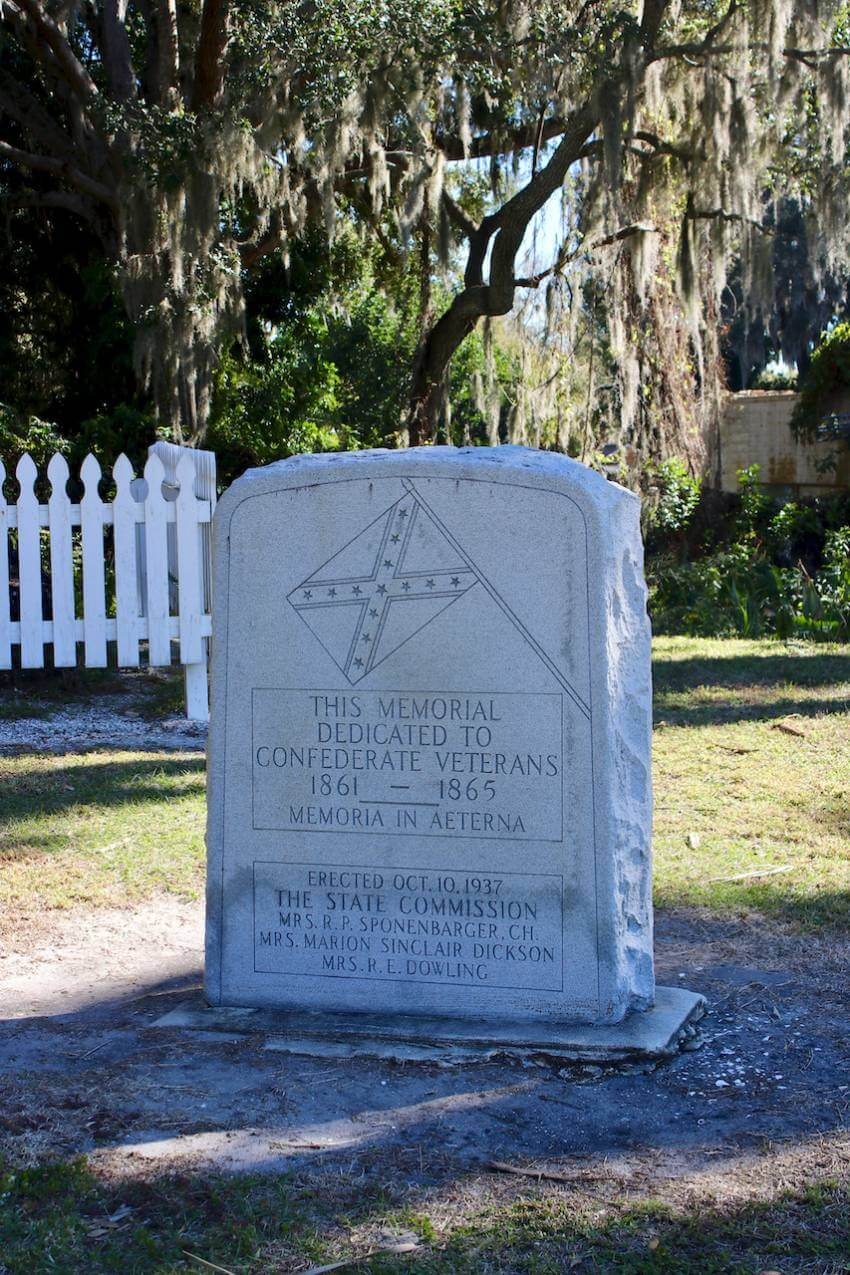 Confederacy Memorial marker at Gamble Plantation Historic State Park Ellenton, Florida.The Gamble Plantation in Ellenton is an easy day trip from Sarasota, Florida. The antebellum mansion is the only surviving plantation home in South Florida and was once the headquarters of an extensive sugar plantation. Photo by Nita Ettinger. Must Do Visitor Guides   MustDo.com