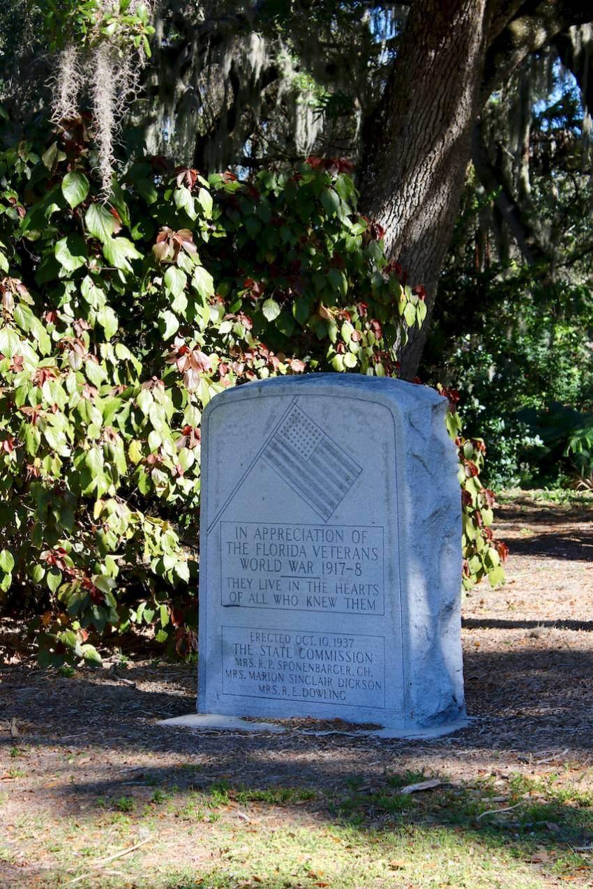 World War I Memorial marker at Gamble Plantation State Park in Ellenton, Florida. Photo by Nita Ettinger. Must Do Visitor Guides, MustDo.com