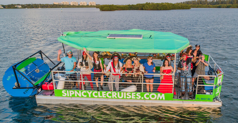 Sip N Cycle Cruises lets you pedal at your own pace while your captain or driver navigates on a fun pedal power water or land cruise that includes a stop at a bar/restaurant Siesta Key, Florida. Must Do Visitor Guides | MustDo.com