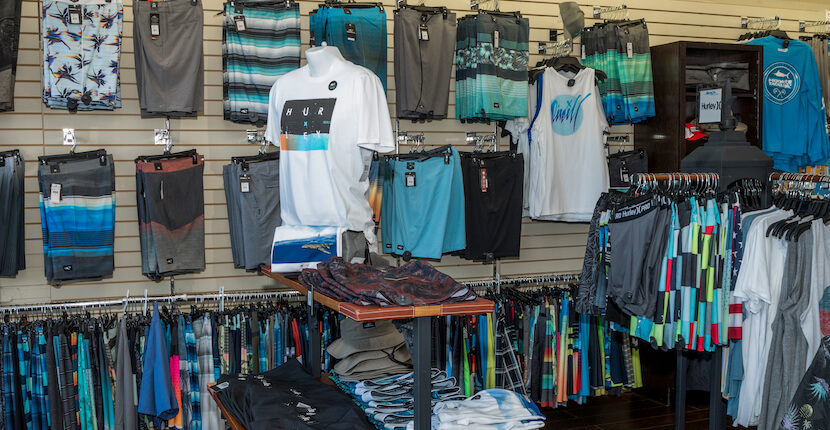 Board shorts, tee shirts. Swim Mart and Swim City best store for men's women's and children's swimsuits, beach coverups, hats, and flip flops Sarasota, Florida USA. Must Do Visitor Guides, MustDo.com