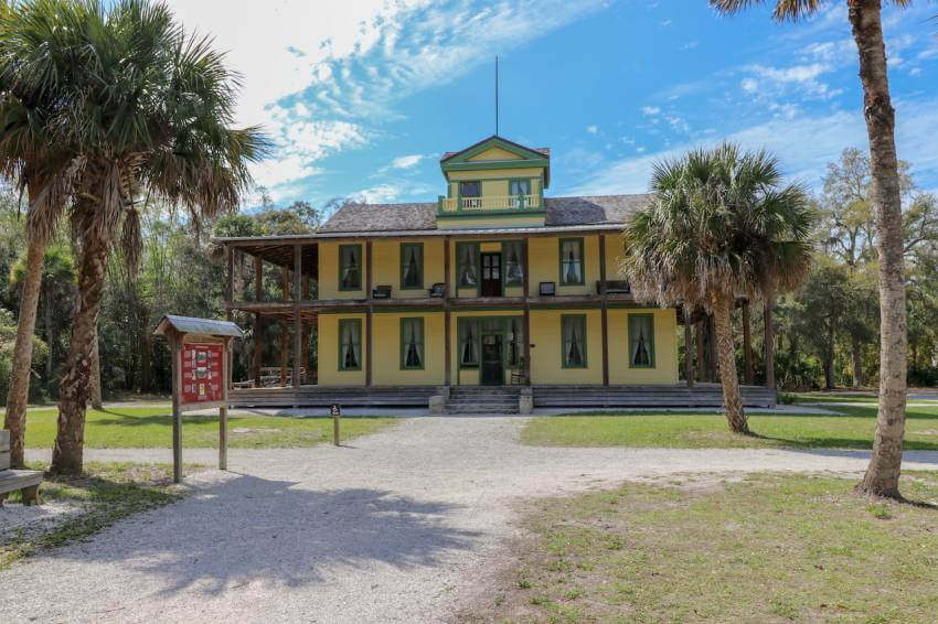 Koreshan State Park is the preserved site of a 19th century religious community. The 200-acre park includes 11 original buildings, Victorian gardens, a nature trail along the Estero River, canoeing, and camping. Must Do Visitor Guides   MustDo.com. Photo by Nita Ettinger