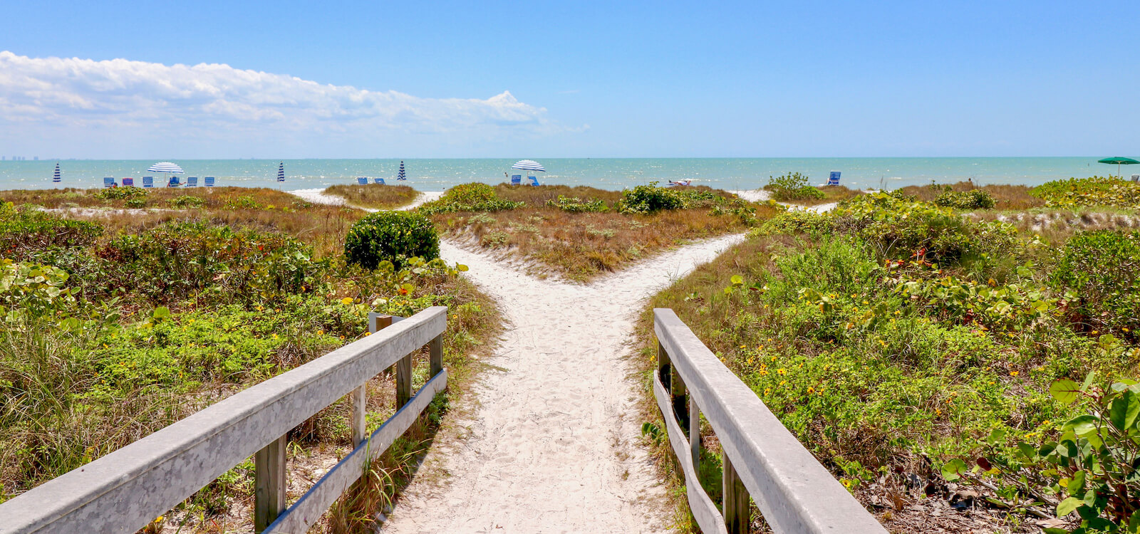 Pathway to the Gulf of Mexico and white sand beach on Sanibel Island, Florida with plenty of room to play, relax, or gather shells. Photo by Nita Ettinger. Must Do Visitor Guides | MustDo.com