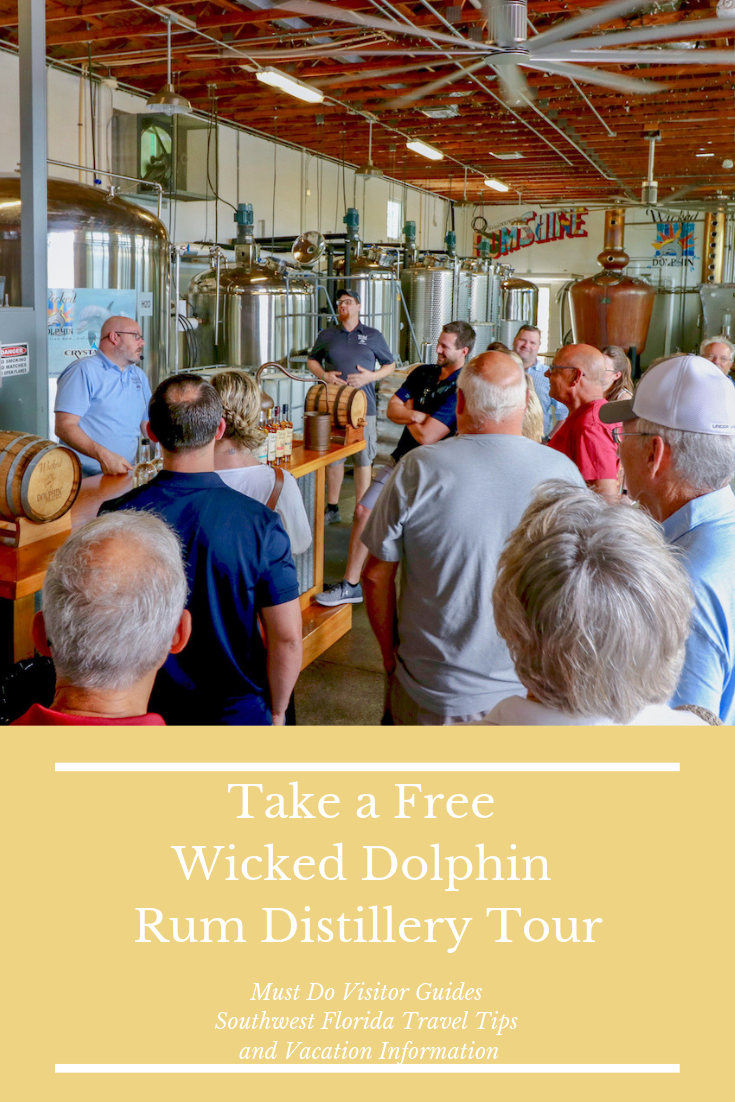 Wicked Dolphin Rumshine. Take a free distillery tour that includes tastings of award-winning Wicked Dolphin Rum in Cape Coral, Florida where you'll learn how they cook, ferment, and distill their reserve and signature rums! Photo by Nita Ettinger. Must Do Visitor Guides | MustDo.com