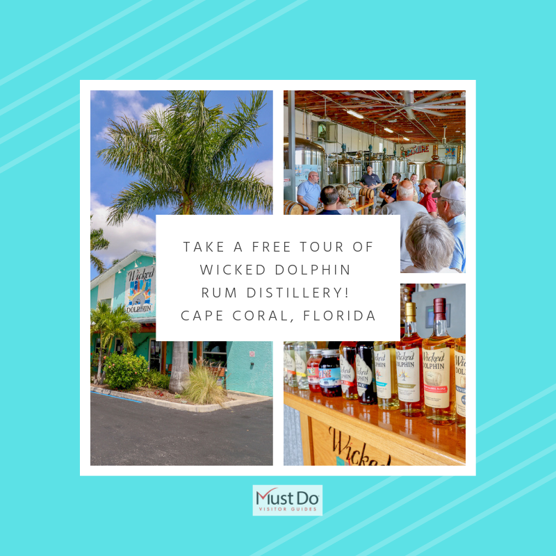 Take a tour the #1 rum distillery in the USA to learn all about rum-making at Wicked Dolphin Rum Distillery in Cape Coral near Fort Myers, Florida. Plus purchase bottles of Wicked Dolphin Rum at outlet prices. Must Do Visitor Guides | MustDo.com