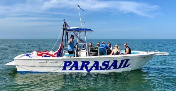 Soar above the Gulf on an exhilarating parasailing adventure giving you an incredible panoramic view of Fort Myers Beach and Sanibel Island, Florida. Estero Island Parasail. Must Do Visitor Guides | MustDo.com