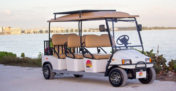Sanibel Carts on Sanibel Island, Florida. A golf cart rental can be a fun and easy way to travel around Sanibel and Captiva Island. Head to the beach, go shopping, out to dinner, and explore the Islands' many hideaways. Must Do Visitor Guides | MustDo.com