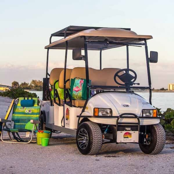 Sanibel Carts on Sanibel Island, Florida. A golf cart rental can be a fun and easy way to travel around Sanibel and Captiva Island. Head to the beach, go shopping, out to dinner, and explore the Islands' many hideaways.